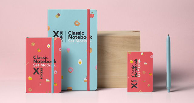 Psd Notebook Mockup Set   Psd Mock Up Templates   Pixeden