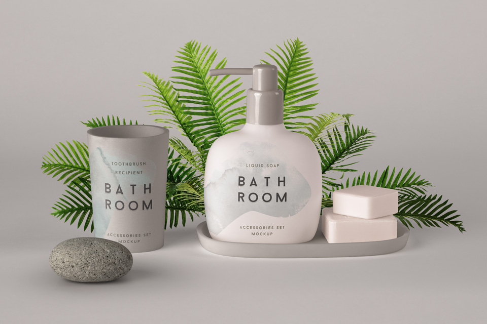 Bathroom psd cosmetic set mockup psd mock up templates - Free online bathroom design templates ...