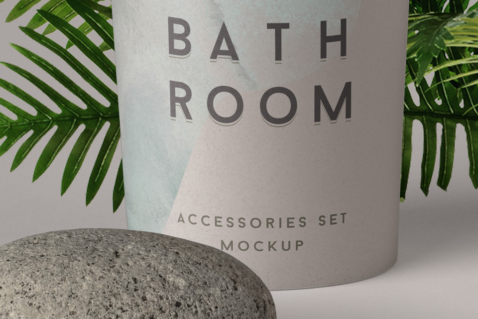 bathroom psd cosmetic set mockup