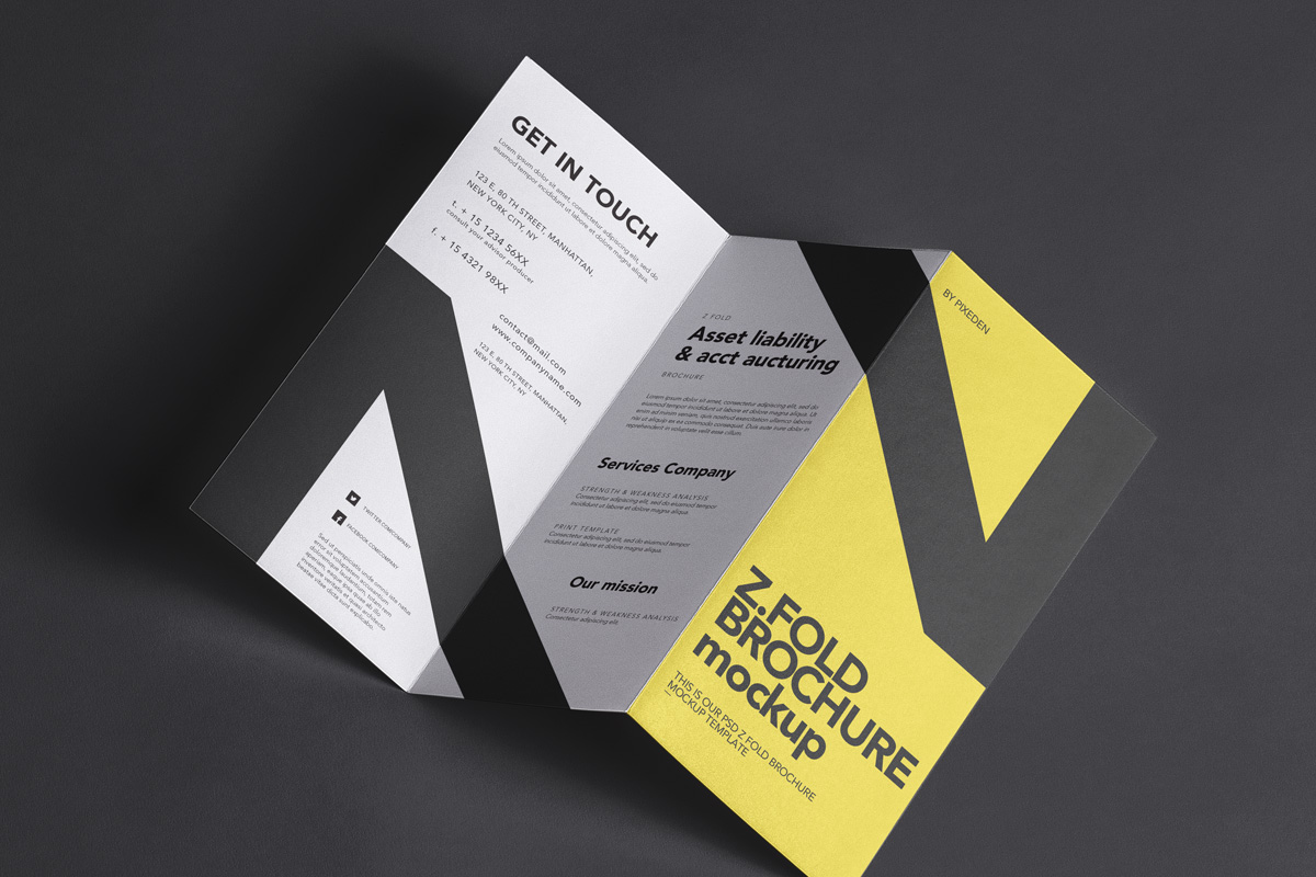ZFold Psd Brochure Mockup   Psd Mock Up Templates   Pixeden
