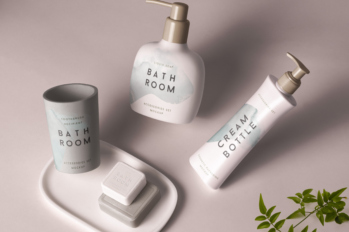 Psd Bathroom Cosmetics Mockup Psd Mock Up Templates