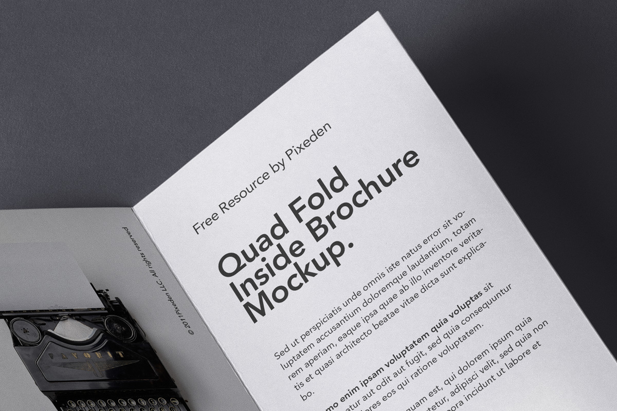 4 Fold Panel Psd Brochure Mockup Title