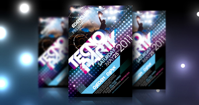 Tecno Party Flyer Template Psd  Flyer Templates  Pixeden