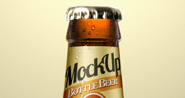 beer bottle psd mockup template