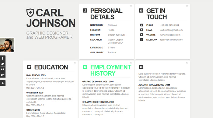 Awesome Free Html Resume Templates. Creative Web Html Resume Template Web Html  Resume Template Pixeden .