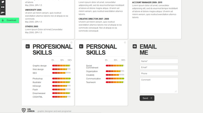Resume Html Template Resume Html Css Template Free Creative And