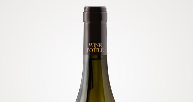 psd white wine bottle mockup