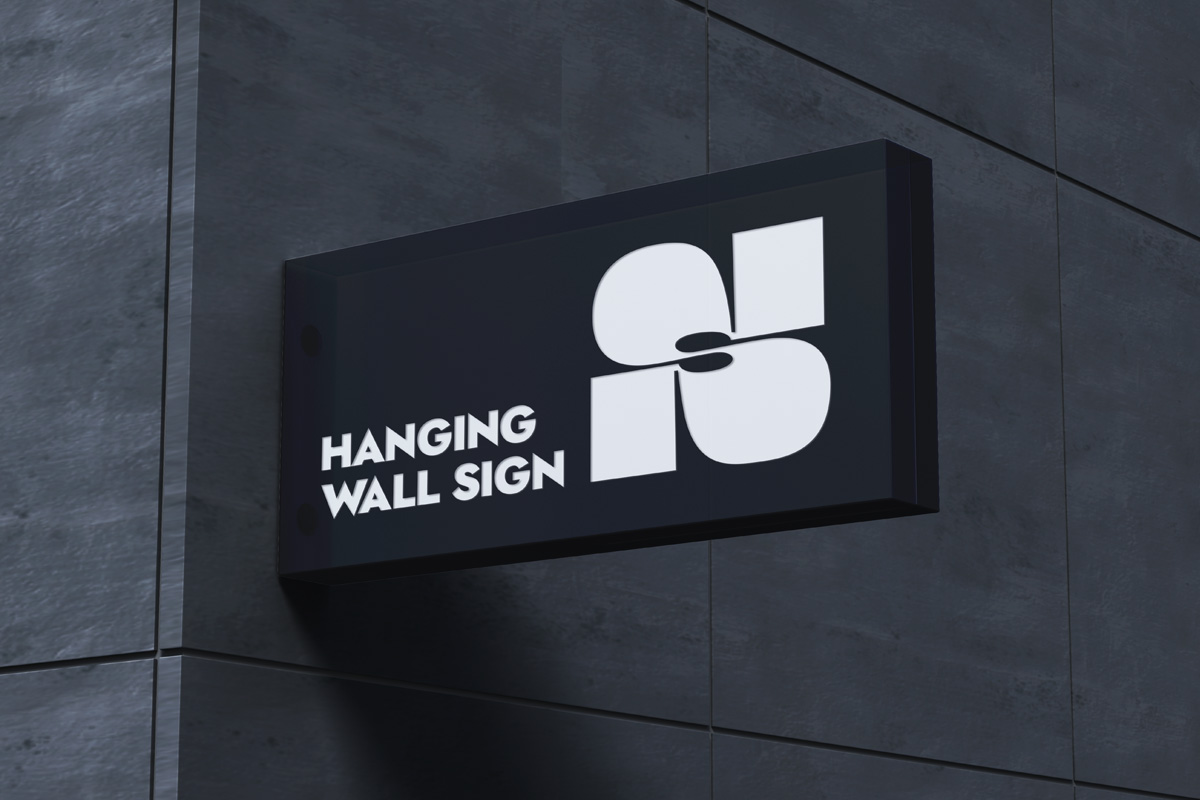 Hanging Psd Wall Sign Mockup | Psd Mock Up Templates | Pixeden