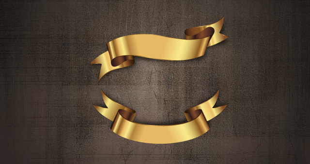Golden Decorative Vector Ribbons Set 02