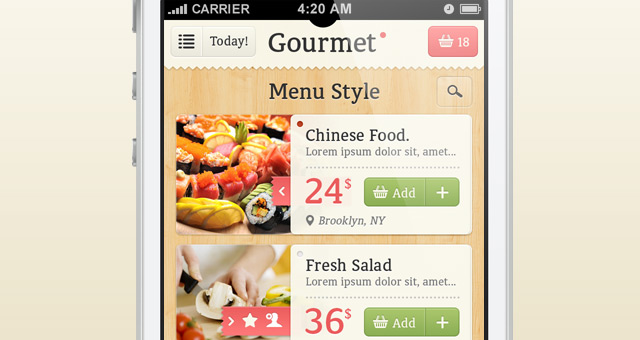 Gourmet iphone app ui kit psd mobile apps pixeden