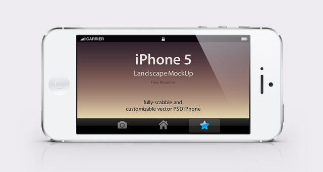 iPhone 5 Psd Landscape Mockup | Psd Mock Up Templates