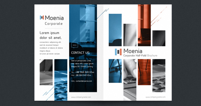 Moenia Bi Fold Brochure Template Brochure Templates Pixeden - Single fold brochure template