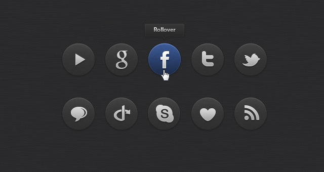 Dark Social Icons Set 01