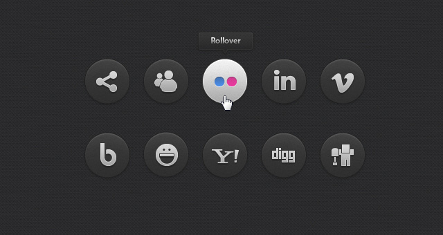 Dark Social Icons Set 02