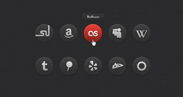 Dark Social Icons Set 04