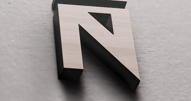 3d wood logo mock