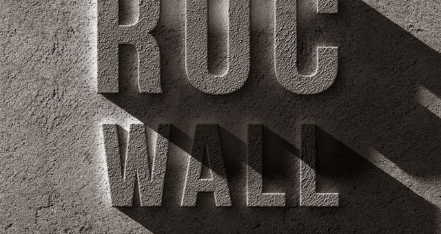 psd concrete rock text effect