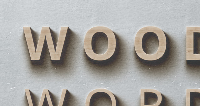 psd wood words text effect