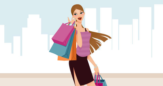 Fashion and Shopping Girls Vector Art 01