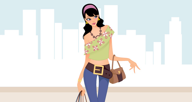 Fashion and Shopping Girls Vector Art 02