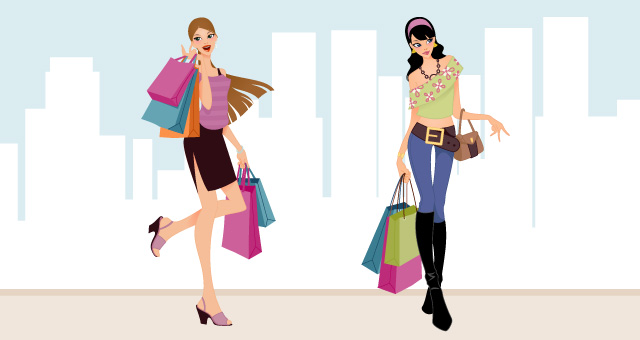 Fashion and Shopping Girls Vector Art 03