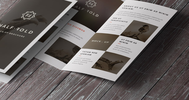 Psd Bi Fold Mockup Template Vol Psd Mock Up Templates Pixeden - Free half fold brochure template