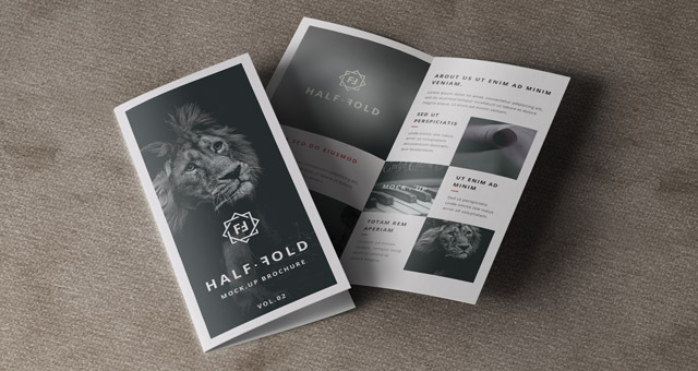 Psd bi fold mockup template vol2 psd mock up templates for Free bi fold brochure template 2