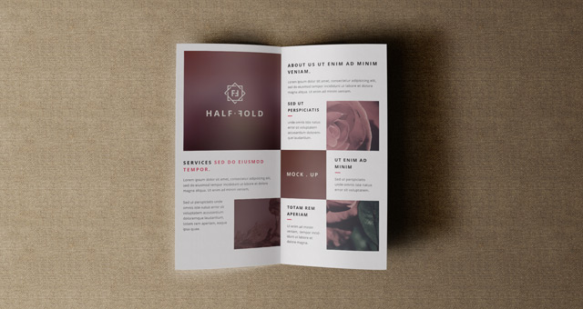 Psd bi fold mockup template vol4 psd mock up templates for Free bi fold brochure template 2