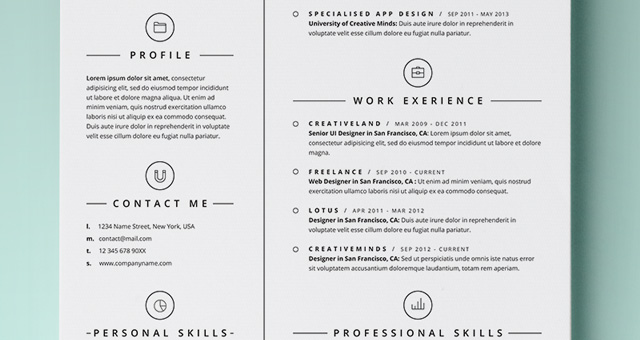 Simple Resume Template Vol4 | Resumes Templates | Pixeden
