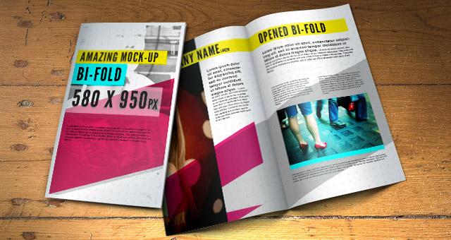 Psd Bifold Brochure MockUp Template Psd Mock Up Templates Pixeden - Brochure photoshop template