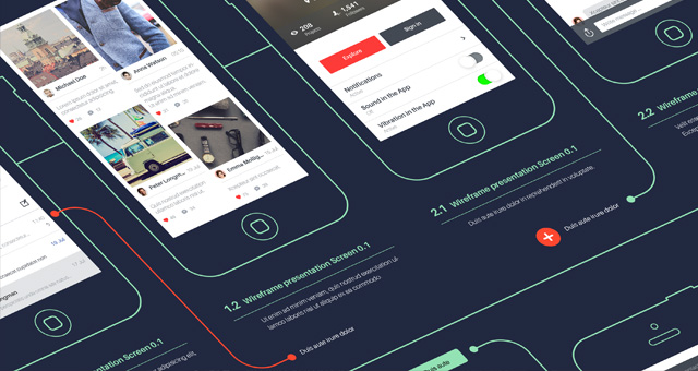 Psd Wireframe App Showcase Mockup | Psd Mock Up Templates