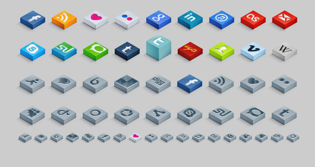 3D Isometric Social Icons Set 02