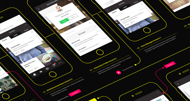 psd wireframe app mockup vol2 | psd mock up templates | pixeden, Powerpoint templates