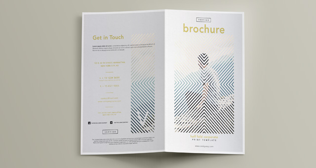 Vertigo bi fold brochure template brochure templates for Free bi fold brochure template 2