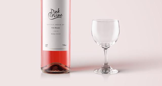 pink wine psd bottle mockup