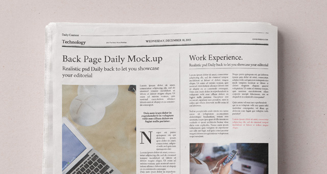 Daily Newspaper Psd Mockup   Psd