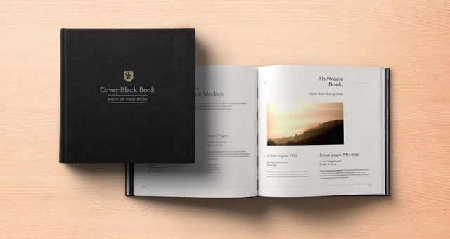 Black Psd Square Book Mockup | Psd Mock Up Templates | Pixeden