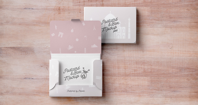 Psd Postcard Box Mockup Psd Mock Up Templates Pixeden - Card template free: postcard mailing template