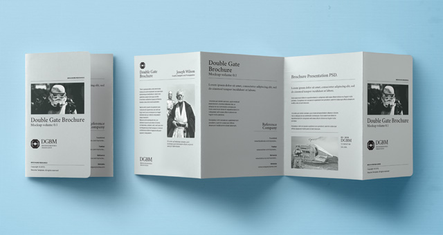 Psd double gate fold brochure psd mock up templates for Double gate fold brochure template