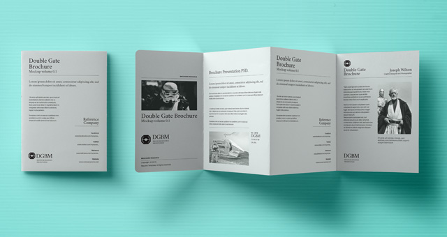 Psd double gate fold brochure vol2 psd mock up templates for Double fold brochure template
