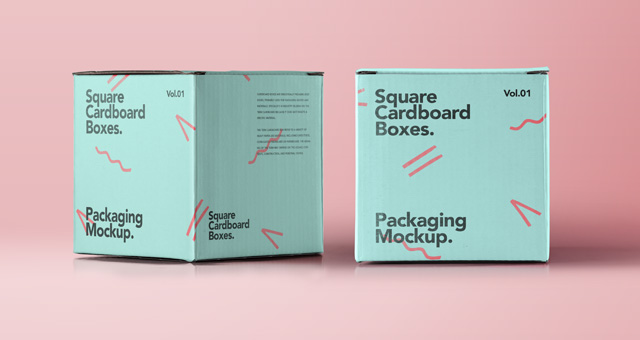 Square Psd Cardboard Box Mockup | Psd Mock Up Templates ...