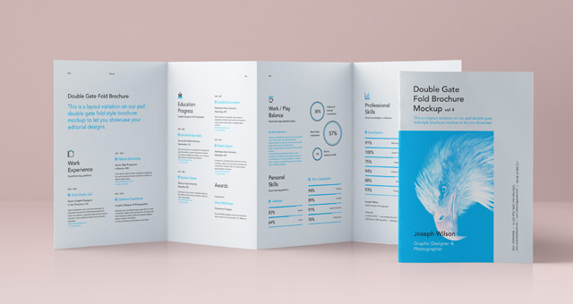 Psd Double Gate Fold Brochure Vol4 | Psd Mock Up Templates | Pixeden