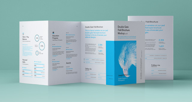 Exceptionnel Psd Double Gate Fold Brochure Vol5
