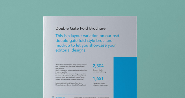 Psd Double Gate Fold Brochure Vol  Psd Mock Up Templates  Pixeden