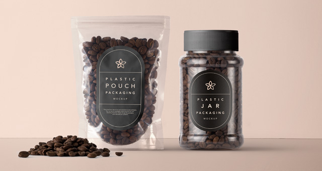 Plastic Coffee Packaging Mockup Psd Mock Up Templates Pixeden