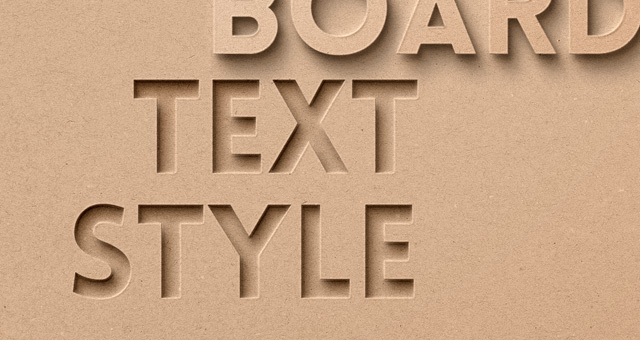 card board psd text effect