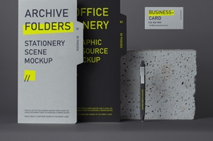 Archive Stationery Psd Folder Mockup