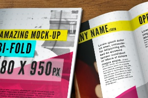 PSD Bi-fold Brochure Mock-Up Template