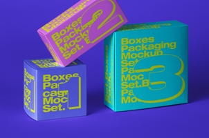 Boxes Psd Packaging Mockup Set