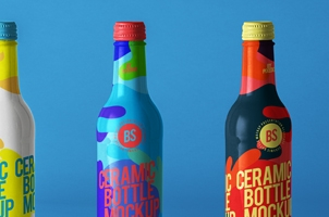 Ceramic Psd Bottle Mockup Set 2